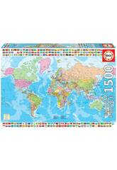 Puzzle 1500 Carte Du Monde Politique Educa 18500