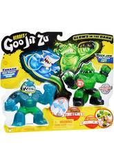 Heroes of Goo Jit Zu Pack 2 Figurines Thrash Vs Rock Bandai 41016