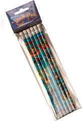 Superzings Set 6 Crayons avec Gomme CYP GS-604-SZ