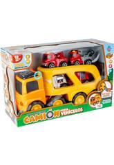 Camion Portaveicoli con 4 Veicoli di Emergenza, Luce e Suoni