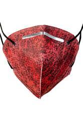 Mascherina Stampata Quadrati Neri Su Rosso Adulto Kamabu 4