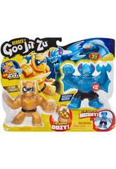 Heroes of Goo Jit Zu Pack 2 Figurines Battaxe Vs Pantaro Bandai 41052