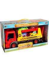 Oranger Kindertruck mit 4 Autos