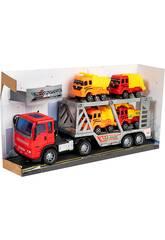 Camión Fricción Rojo 29 cm. Porta Vehículos con 4 Vehículos Construcción