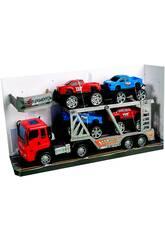 Camion de Friction Jaune 29 cm. Porte-voitures avec 4 Jeeps 10 cm.