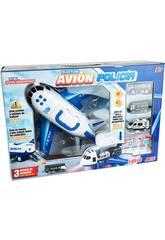 Avion de Police Mallette Porte-voitures avec 3 Véhicules et Accessoires