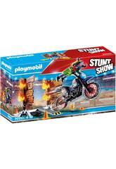 Playmobil Stuntshow Moto con Muro de Fuego 70553
