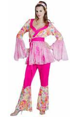 Disfraz Hippie Flower Power Mujer Talla S
