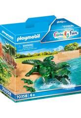 Playmobil Crocodile avec bébé 70358
