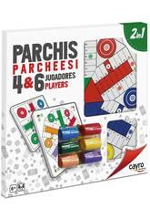Planche en bois 40x40 cm. Parcheesi 4 et 6 joueurs avec accessoires Cayro 096