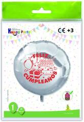 Balão Poliamida Redondo Feliz Aniversário Globolandia 5473