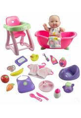 Bambola 26 cm. + Set regalo con vasca da bagno, seggiolone e 20 accessori