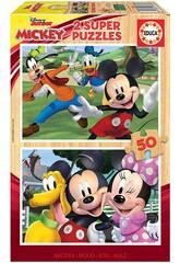 Puzzle en bois 2x50 Mickey & Friends Educa 18880