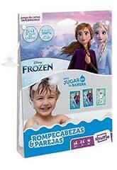 Carte da gioco per bambini Shuffle Aqua Frozen puzzle e coppie Fournier 130012514