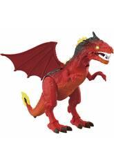 Roter Legendary Dragon 40 cm. Projektor und Bewegungen Rot