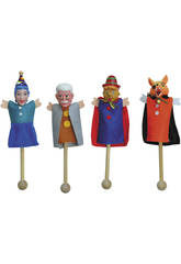 4 Marionette Con Palo Con 9 Schede Marionette