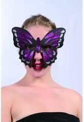 Antifaz Glitter Mariposa Morada
