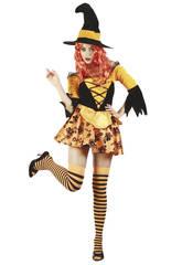 Kostüm Hexe orange Frau Größe XL