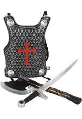 Accesorios Disfraz Set Medieval Con Coraza, Espada y Hacha 3-9 Años