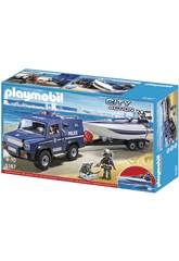 Playmobil Voiture de police avec canot