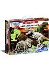 Archéo-jouant T-Rex et Triceratops Fluorescent