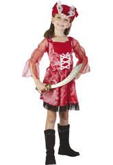 Disfraz Pirata Roja Niña Talla S
