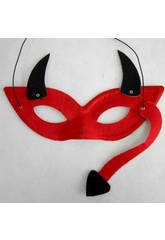 Maschera Diavolo Con Corna e Coda