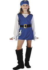 Disfraz Pirata Azul Niña Talla S