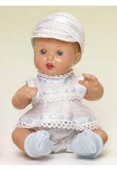 Mini Juanin Bebé Conjunto Branco e Azul com Chapéu