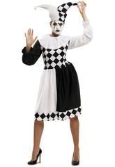 Disfraz Mujer L Arlequina Blanco y Negro