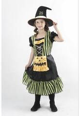 Disfraz Bruja Calabaza Verde Niña Talla M