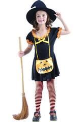 Disfraz Bruja Calabaza Feliz Niña Talla L