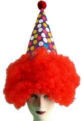 Chapeau Clown avec Cheveux Rouge