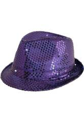 Sombrero Gangster Purpura Con Luz