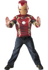 Disfarce Iron Man Peito Muscular e Máscara Tamanho M