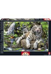 PUZZLE 1000 Bengal White Tiger 68x48 cm EDUCA 14808